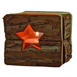 Windlicht Holz 9x9cm