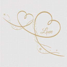 "Spruchserviette ""Love"" gold"