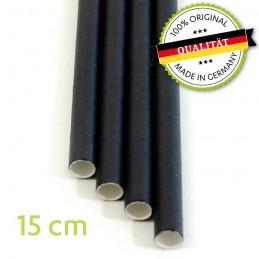 Trinkhalme, Strohhalme aus Papier, biologisch abbaubar, schwarz, Ø 8mm, Länge 15cm