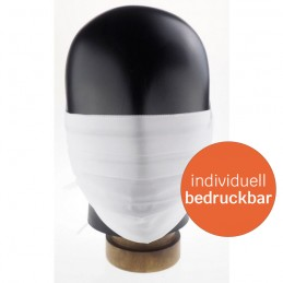 Hygiene-Maske / Community-Maske / Mund- und Nasenmaske aus Stoff, 100% Baumwolle, handgenäht, weiß, WASCHBAR & WIEDERVERWENDBAR