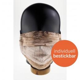 Community-Maske / Mund- und Nasenmaske aus Polyester, handgenäht, Wood, WASCHBAR & WIEDERVERWENDBAR