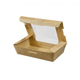 Bio Foodbox braun aus Karton mit Sichtfenster, 1000ml, 18x10x5cm
