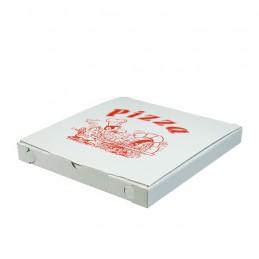 Bio Pizzakarton weiß/ rot, 26,5x26,5x3cm