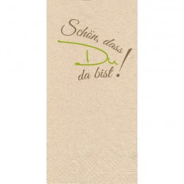 "Bio-Hantiss-Serviette (2-lagig) 40 x 40 cm (1/8 Falz), naturbraun, ""Schön, dass Du da bist"" braun/grün"
