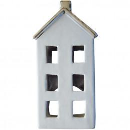 Windlicht Haus weiß, 18 cm