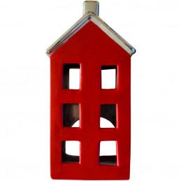 Windlicht Haus rot, 18 cm