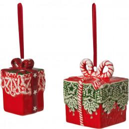Geschenke, 2er Set, rot/grün